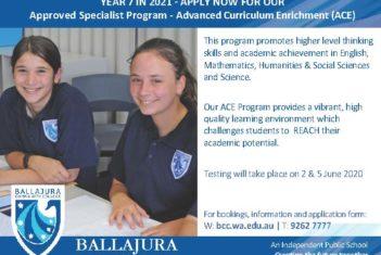 Advanced Curriculum Enrichment (ACE) Program 2021